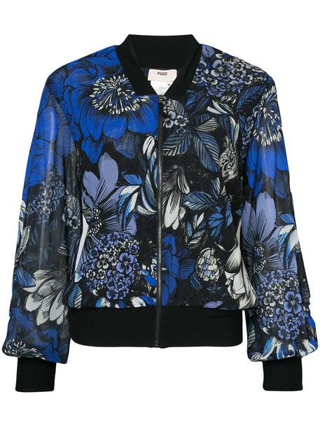 Fuzzi - floral print bomber jacket - women - Polyamide - S, Blue, Polyamide