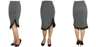lace shirt vintage skirt black grey pencil skirt pin up vintage re-creation