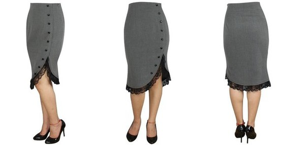 Pin up vintage black vintage re-creation shirt grey lace pencil skirt skirt