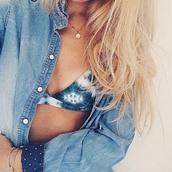 swimwear,underwear,blue,white,bikini,summer,bra,bartik,hippie,booho,indie,bohoo,style,denim,bikini top,denim shirt