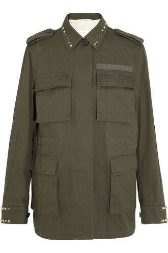 jacket studded cotton green army green
