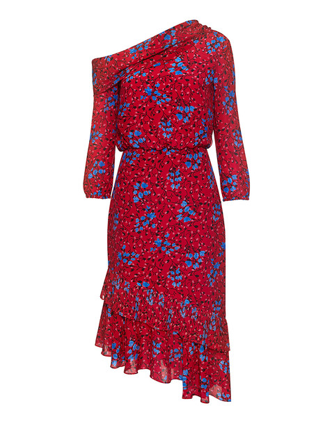 dress floral silk red
