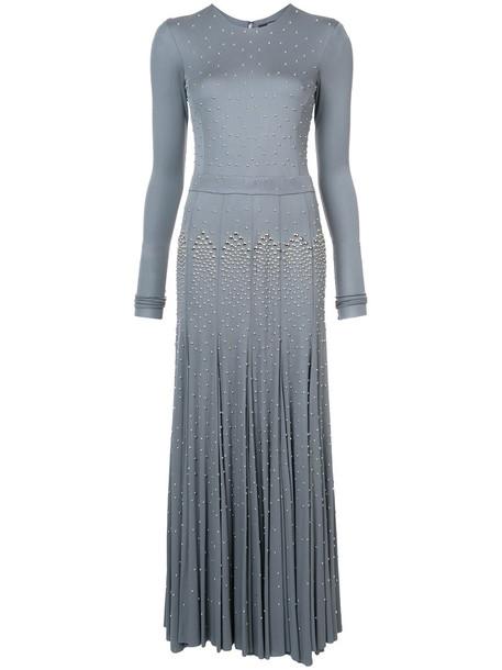 gown studded long women grey dress