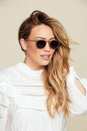 sunglasses,top,hilary duff,white top,editorial,accessories