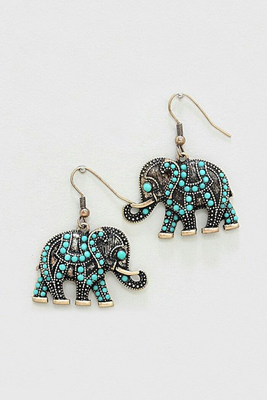 elephant jewels earrings turquoise