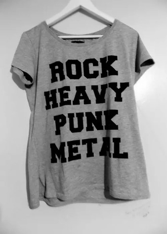 shirt rock punk heavy metal t-shirt gray t-shirts gray clothes music