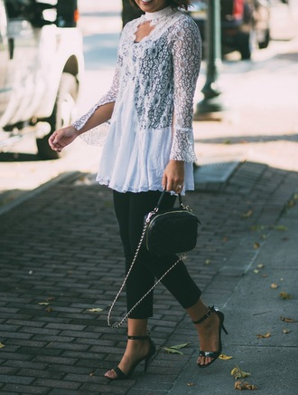 life & messy hair blogger pants shoes bag sandals high heel sandals handbag white top black pants fall outfits