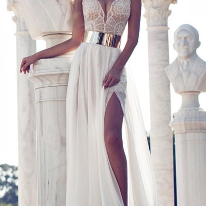 Dress prom dress hat white dress lace dress gold belt long for Gold belt for wedding dress