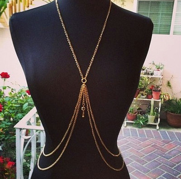 jewels, body chain, gold body chain, gold, chain, charm ...