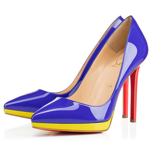 blue heels high heels red heel yellow louboutin colorful shiny