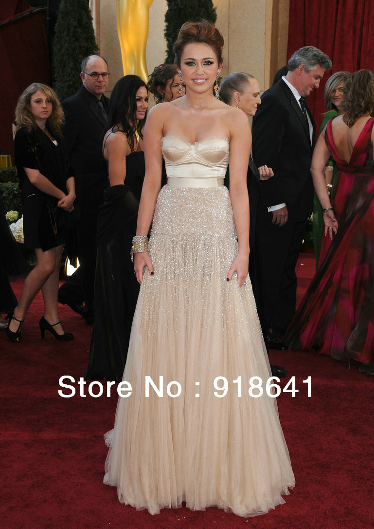 Aliexpress.com : Buy 82nd Annual Academy Awards Miley Cyrus Oscar Dress 2010 A line Floor Length Tulle Sweetheart Beads Celebrity Dresses from Reliable dresses fashion suppliers on Online Store AndyBridal