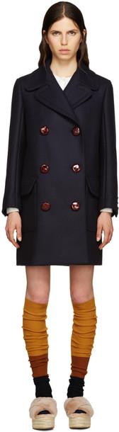 oversized navy wool coat