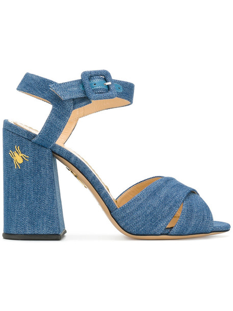 charlotte olympia women sandals leather cotton blue shoes