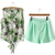 White Sleeveless Coconut Trees Print Top With Green Shorts - Sheinside.com