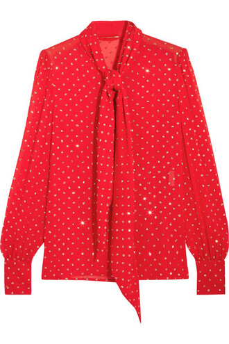 blouse bow silk red top