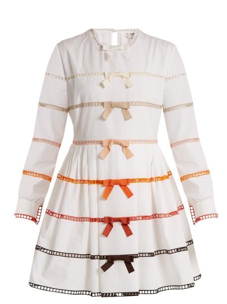 Fendi dress bow long cotton white