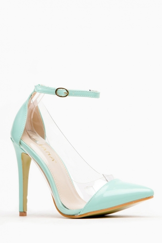 8c475de42a9 Liliana Mint Pointed Toe Ankle Strap Vinyl Heels @ Cicihot Heel Shoes  online store sales:Stiletto Heel Shoes,High Heel Pumps,Womens High Heel ...