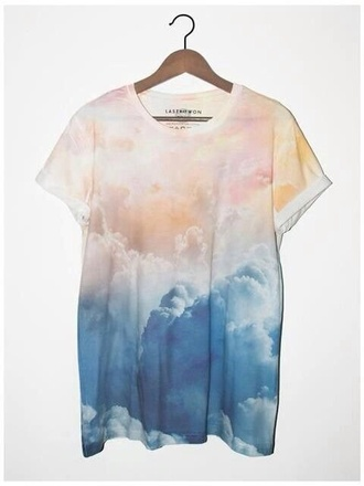 t-shirt oversized t-shirt smoke pink blue shirt white shirt