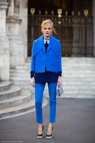 pants all blue all blue outfit blue pants top blue top jacket blue jacket pumps pointed toe pumps black pumps bag grey bag streetstyle spring outfits