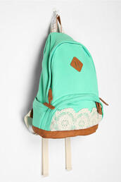 bag,backpack,turquoise,school bag,lace,blue,cute,menthe,indie,mint,blouse,herschel supply co.,mint green bag,turqoise,seafoam green,teen style,girly,turquoise lace bag,back to school,turquoise lace school bag,teal,white crochet,mint bag,mint bag lace cute,mint backpack,terqouise,mint lace