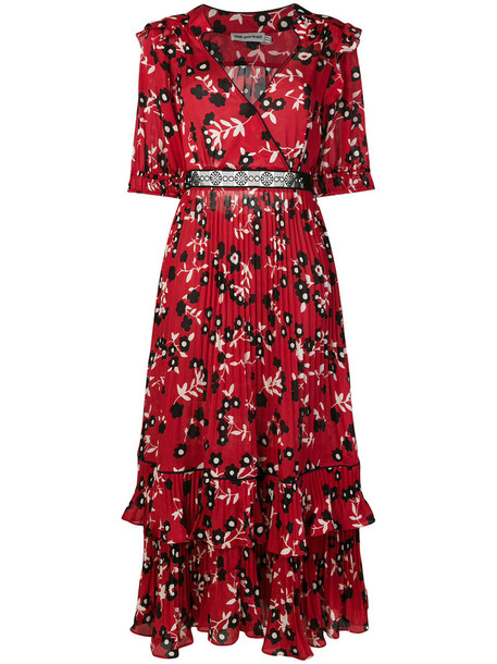 self-portrait dress maxi dress maxi women floral red