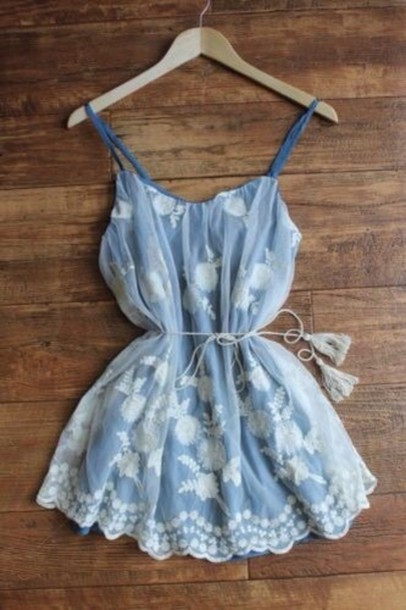 dress pretty beautiful blue blue dress flattering spring summer style blue color with lace lace cute