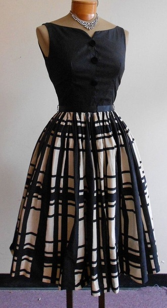 dress black dress beige vintage 50s style midi dress