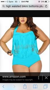 swimwear,blue with high waisted bottoms,fringes,plus size swimwear
