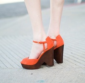 shoes,orange,wedges,high heels