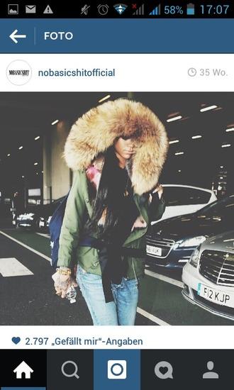 sweet lovely swag classy coat girl girly fur coat fur parka nice instagram