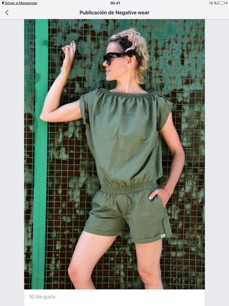 blouse military style olive green jumpsuit shorts