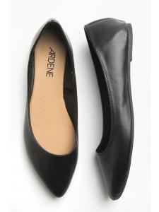 Pointy black leather ballerina flats
