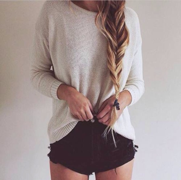 shorts comfy sweater white cream black high waisted cute tumblr fish tail braid