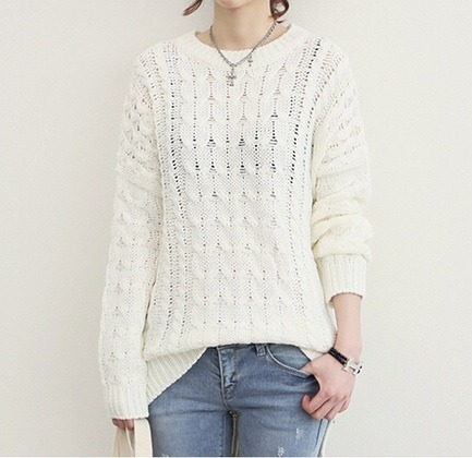 White sweater asymmetrical zip side knit pullover top