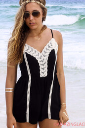 romper,black,crochet,open back,crisscross bacj,amazinglae,amazinglace,summer,crisscross back romper,criss cross