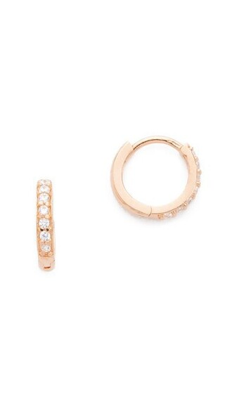 rose gold rose clear earrings hoop earrings gold jewels