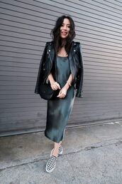 the fancy pants report,blogger,dress,jacket,shoes,bag,sunglasses,fall outfits,black leather jacket,silk slip dress,slip on shoes,shoulder bag