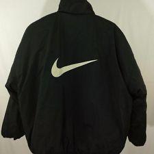 d554d33e3 Nike Reversible Puffer Jacket Vtg 90s Full Zip Big Swoosh Black White Mens  Sz XL
