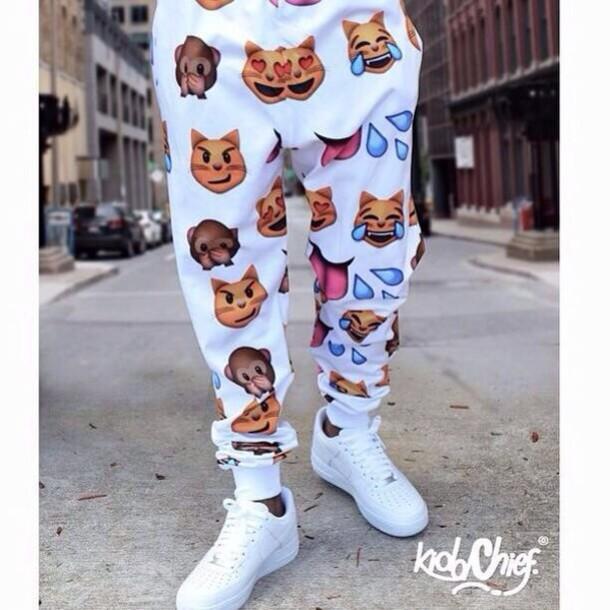 pants white sweatpants white pants emoji print emoji red