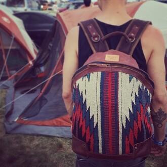 bag backpack aztec tribal pattern
