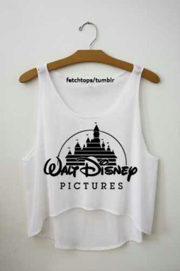 top shirt diseny disney white crop tops tank top