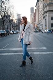 prosecco and plaid,blogger,jeans,coat,faux fur,black boots