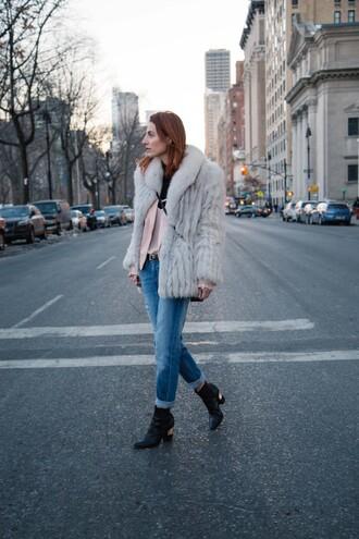prosecco and plaid blogger jeans coat faux fur black boots