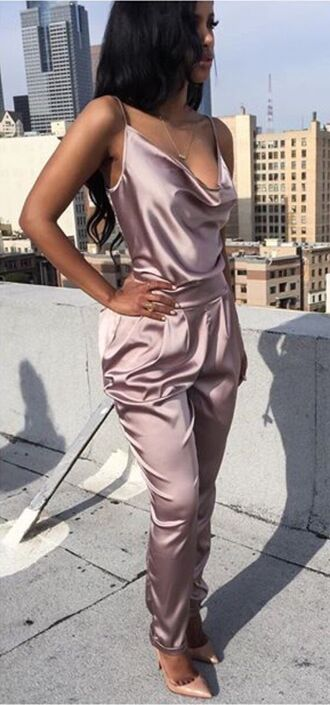 jumpsuit silk satin pink jumpsuit pink purple jumper cleavage popular style going out clubwear romper beautiful cool sexy clothes tumblr outfit