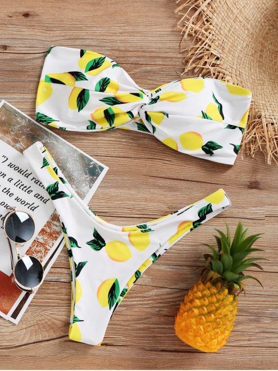 Ensemble de bikini taille haute imprimé citron