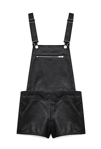 Edgy Faux Leather Overall Shorts | FOREVER 21 - 2000092183