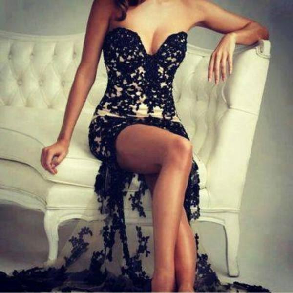 dress beautiful black white long