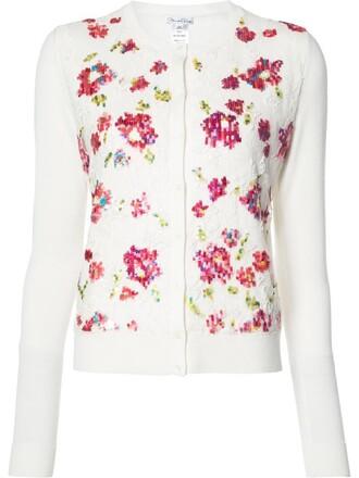 cardigan embroidered women flowers white silk wool sweater