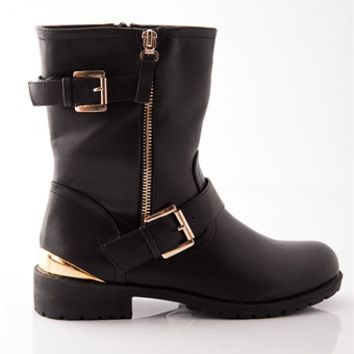 Show of Shows Gold Heel Faux Leather Boots - Black on Wanelo