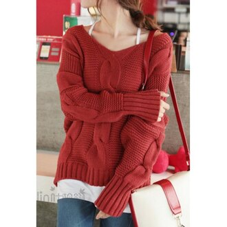 sweater red sweater knitwear knitted sweater stylish winter outfits rose wholesale style casual
